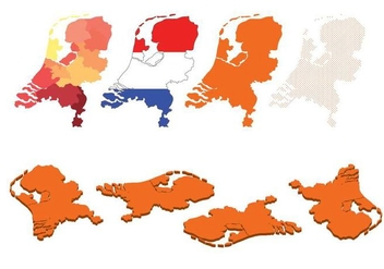 Netherland Map Set - vector #383745 gratis