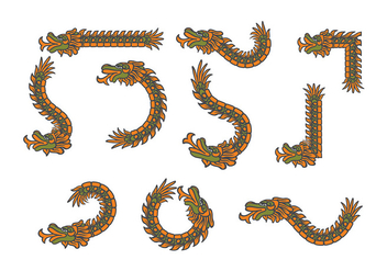 Decorative Quetzalcoatl Vectors - Free vector #383785