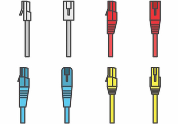 Flat RJ45 Connector Set - vector gratuit #383835