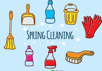 Hand Drawn Spring Cleaning Vector - vector gratuit #383905