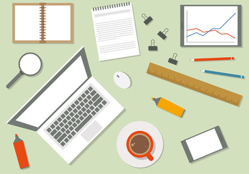 Free Flat Workspace Vector Illustration - Free vector #383915