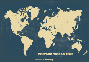 Vintage World Map - vector gratuit #384035