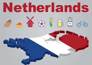 Netherlands Map and Icons Set Vector - vector gratuit #384225