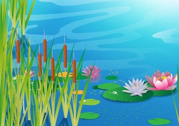 Lake with Cattails Vector - Free vector #384245