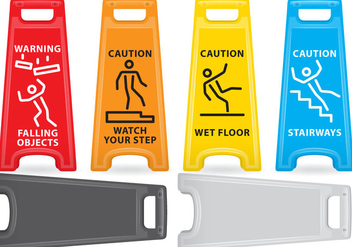 Caution Plastic Signs - vector gratuit #384265