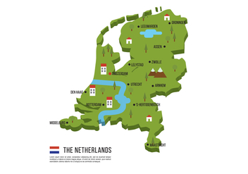 Netherlands Flat Map - vector #384325 gratis