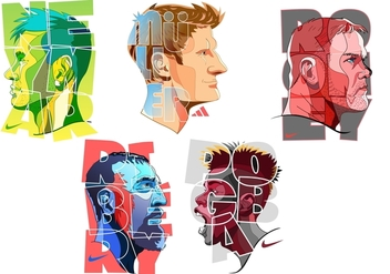 Colorful superstar football player - vector gratuit #384525