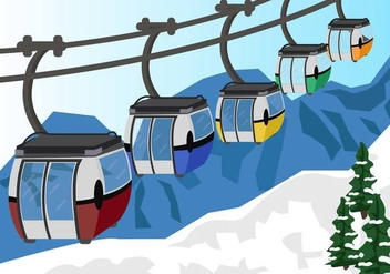 Cable Car In Snow Mountain Vector - vector gratuit #384535