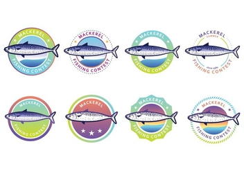 Free Mackerel Badge Pack - Free vector #384575