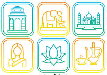 India Elemnt Outline Icons - vector #384665 gratis
