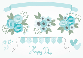 Vector Blue Floral Elements - бесплатный vector #384755