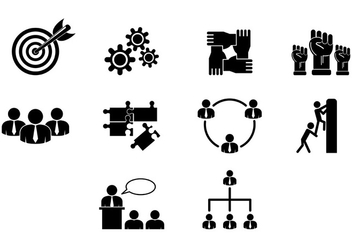 Set Of Working Together Icons - vector #384775 gratis