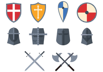 Set Of Templar Icon - vector #384875 gratis