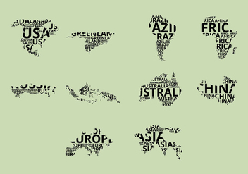 Word Map Icon Set - vector gratuit #384905