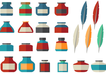 Ink Pot Flat icon vector set - Free vector #384945