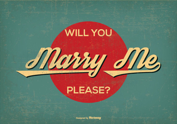 Vintage Retro Style Marry Me Illustration - бесплатный vector #385275