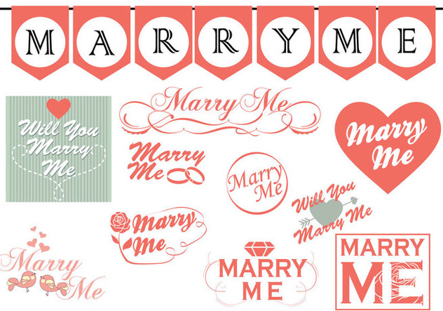 Marry Me Signs Collection - vector gratuit #385285