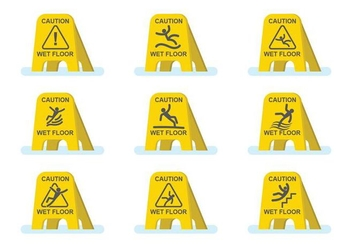 Free Wet Floor Caution Set - vector gratuit #385495