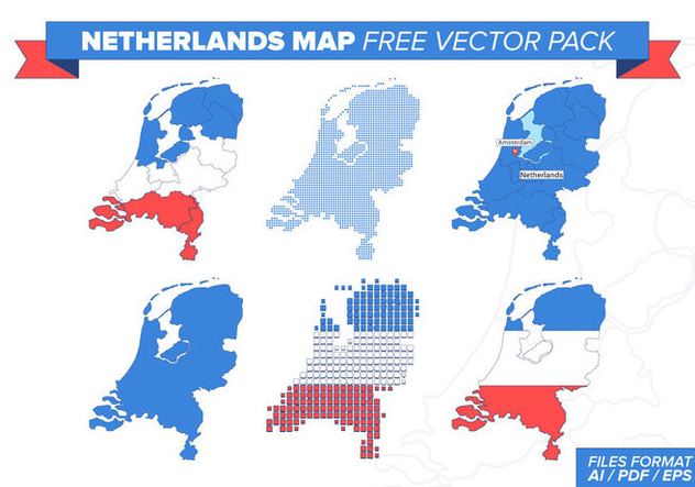 Netherlands Map Free Vector Pack - vector gratuit #385585