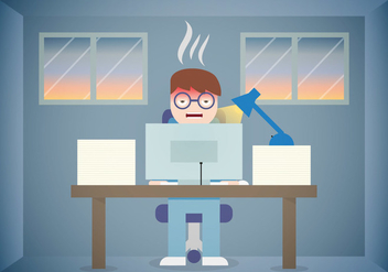 Burnout Work Office Vector Flat - Free vector #385685