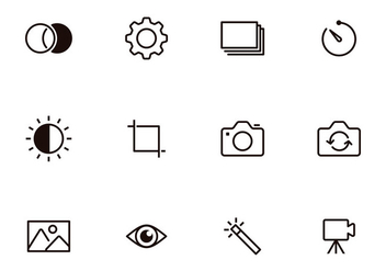 Photography Thin Icons - vector gratuit #385725
