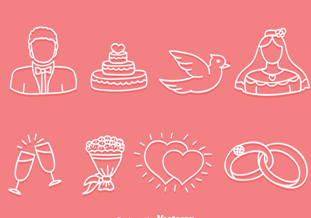 Hand Drawn Wedding Icons Vector - vector gratuit #386005