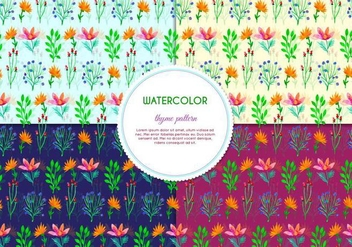 Multi Color Herb Pattern Vectors - vector gratuit #386095
