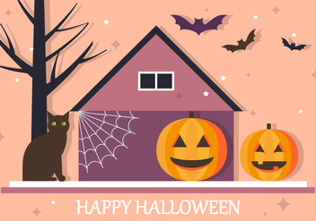 Happy Halloween House Vector Background - бесплатный vector #386185