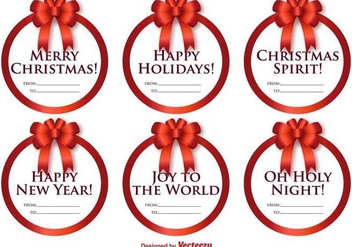 Vector Set Of Round Labels With Christmas Messages And Bows - Free vector #386195