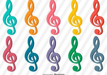 Collection of vector treble clef icons - vector #386555 gratis