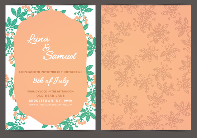 Orange Berry Vector Wedding Invite - Free vector #386565