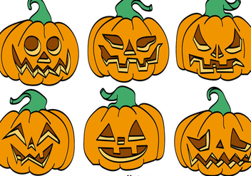 Vector Set Of Cartoon Pumpkins For Halloween - vector gratuit #386575