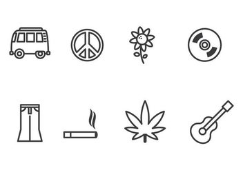 Hippie Icon Set - Free vector #386685