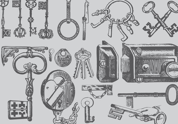 Vintage Key Drawings - vector #386855 gratis