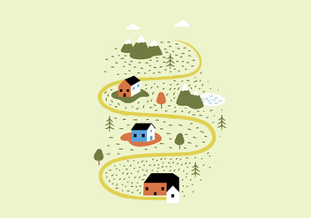 Landscape Houses Illustration - бесплатный vector #386875