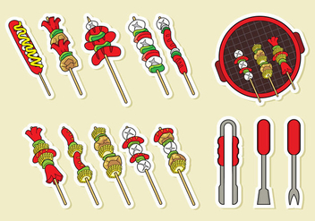 Brochette Skewers Icons Vector - бесплатный vector #387095