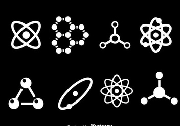 Atom White Icons - vector gratuit #387465