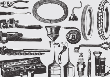 Vintage Mechanic Tools - бесплатный vector #387505
