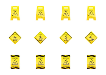 Wet Floor Sign - vector #387535 gratis