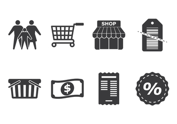 Family Shopping Icon Set - vector gratuit #387615
