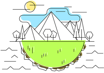Geometric Mountain Meadow Vector Illustration - Free vector #387655