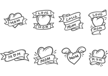 Cute Mom Tattoo Vectors - Free vector #387675