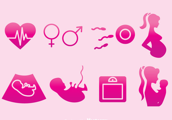 Pregnant Mom Element Pink Icons - Free vector #387865