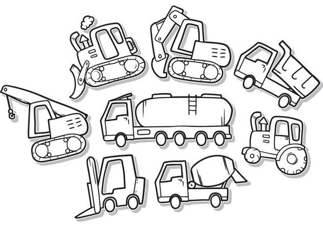 Free Doodle Construction Vehicle Vector - vector gratuit #387885