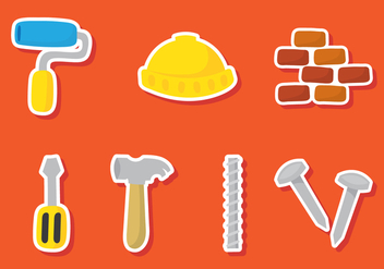 Construction Sticker Icons - Kostenloses vector #388075