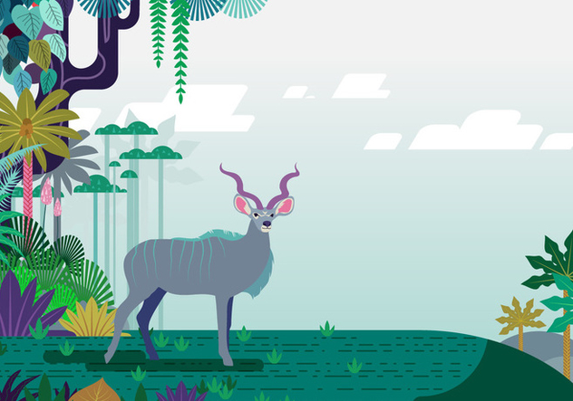 Floral Jungle Kudu Vector - vector gratuit #388385