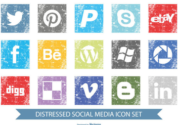 Distressed Social Media Icon Set - Free vector #388415
