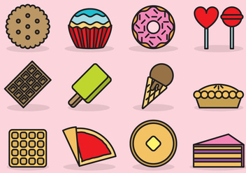 Cute Dessert Icons - Free vector #388775