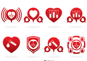 Blood Donation Red Icons Vector - Free vector #388795