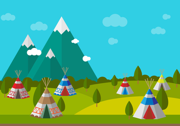 Tipi With Scenery Vector - Kostenloses vector #388965